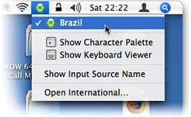 Menu de layouts de teclado