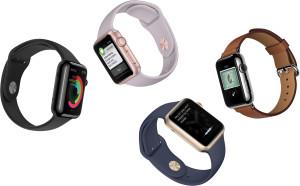 Vários modelos de Apple Watches