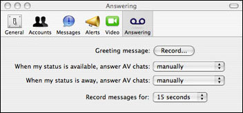Answering no iChat do Leopard