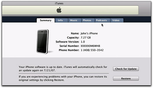 iPhone no iTunes