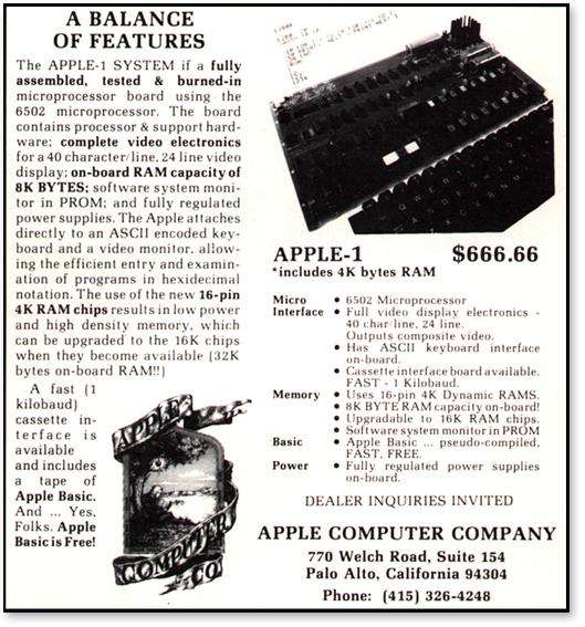 Anúncio Apple-I