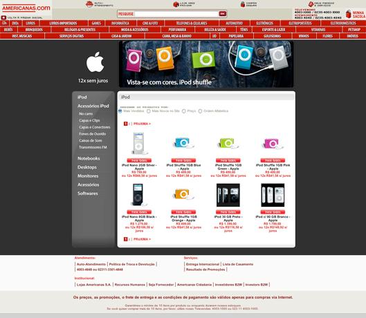Novo layout loja Apple na Americanas.com