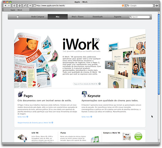 iWork '06 no site da Apple Brasil
