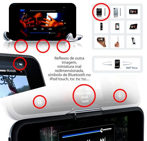Erros nas fotos do site do iPod touch