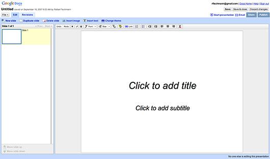 Interface do Google Presentations