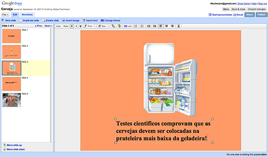 Apresentação sendo editada no Presentations