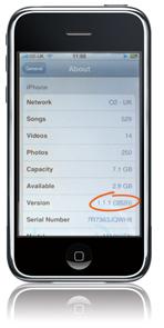 iPod mostrando Firmware 1.1.1