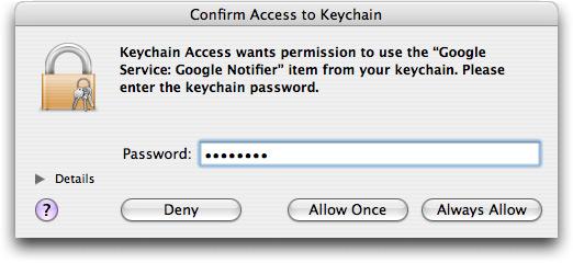 Liberação de senha no Keychain Access