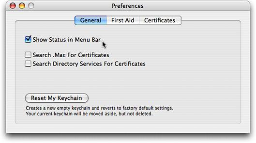 Mostrar ícone do Keychain Access na barra de menus