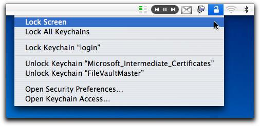 Keychain Access na barra de menus