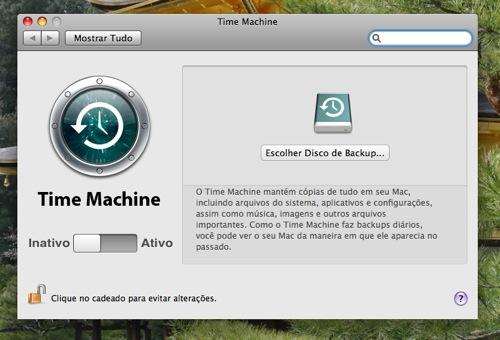Opções do Time Machine