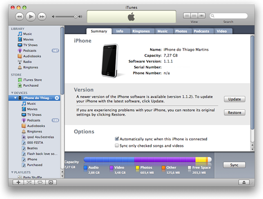 Sincronizando com o iTunes