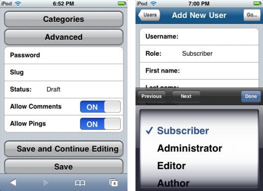 Plugin do WordPress Admin para iPhone
