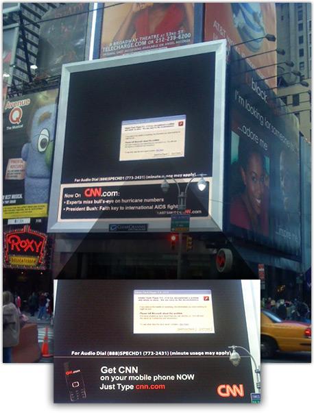 Erro do Windows em Times Square