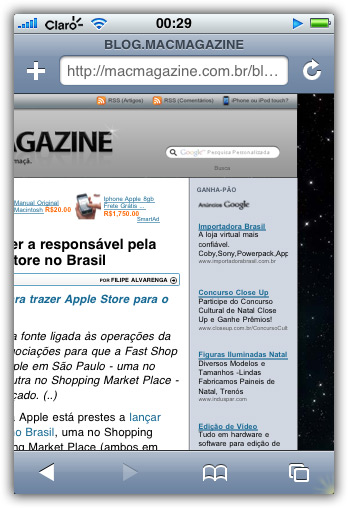 MacMagazine 2.0 rodando no iPhone