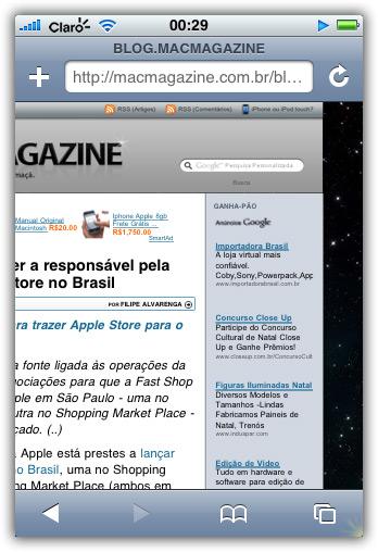 MacMagazine 2.0 rodando no iPhone