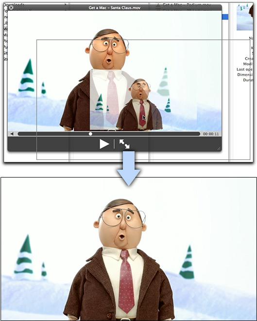 Arrastando imagens de vídeos no Quick Look