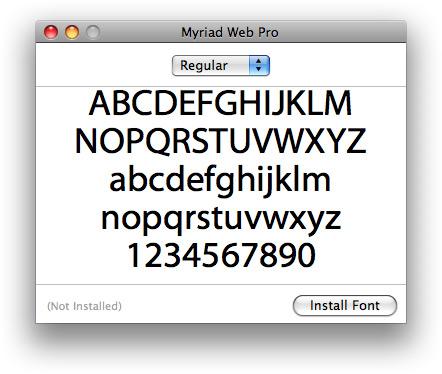 Preview no Font Book
