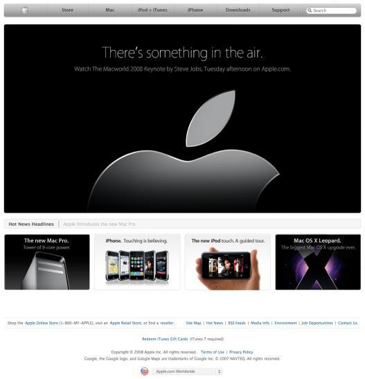 Apple.com para a Macworld 2008