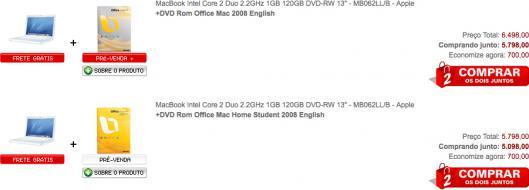 MacBook e Office:mac 2008 nas Americanas.com