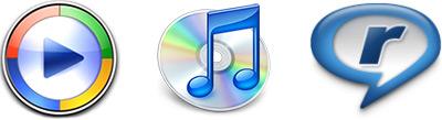 Ícones: Windows Media Player, iTunes e RealPlayer