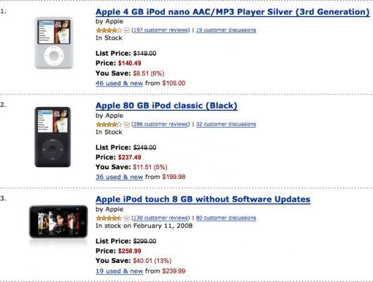 TOP3 iPods na Amazon.com