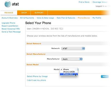 iPhone 3G no site da AT&T