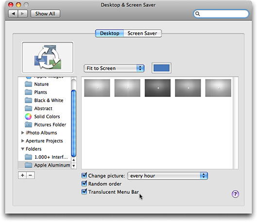 Barra de menus translúcida no Mac OS X 10.5.2