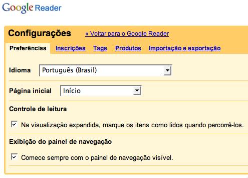 Google Reader em português
