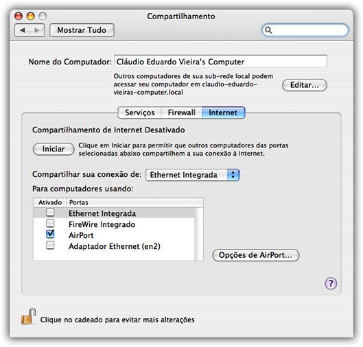 Compartilhamento de internet com iPod touch