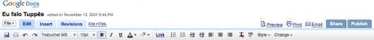 Nova barra de ferramentas do Google Docs