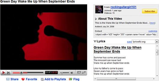 Letras de músicas no YouTube