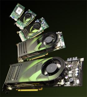Vários modelos de placa de vídeo nVidia GeForce