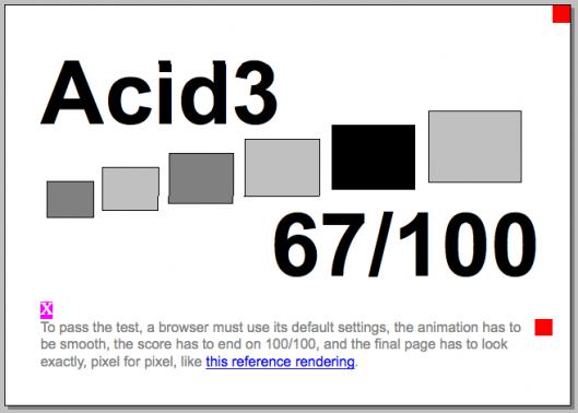 Minefield 3.0b4pre, 67/100 testes realizados com sucesso