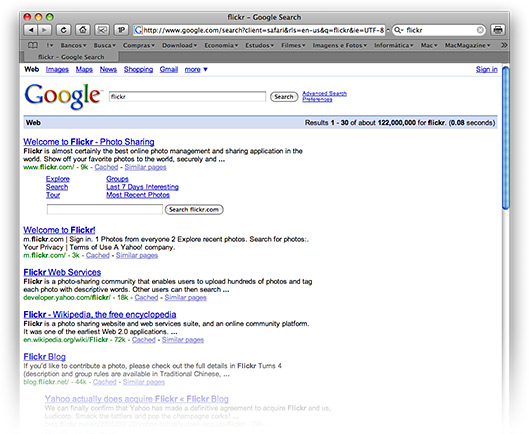 Sub-caixa de busca do Flickr