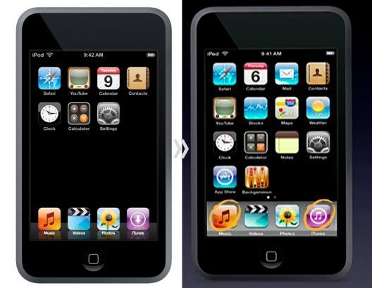Evolução na interface do iPod touch