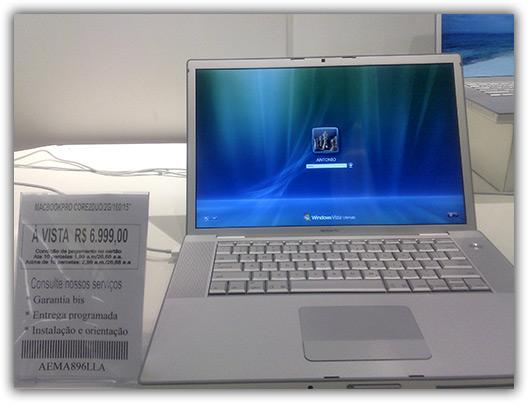 MacBook Pro com Windows Vista na Fast Shop