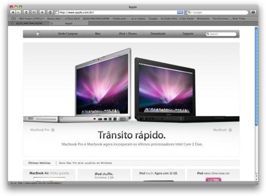 Página inicial do site da Apple Brasil