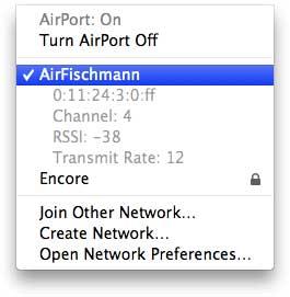 AirPort na barra de menus do Mac OS X