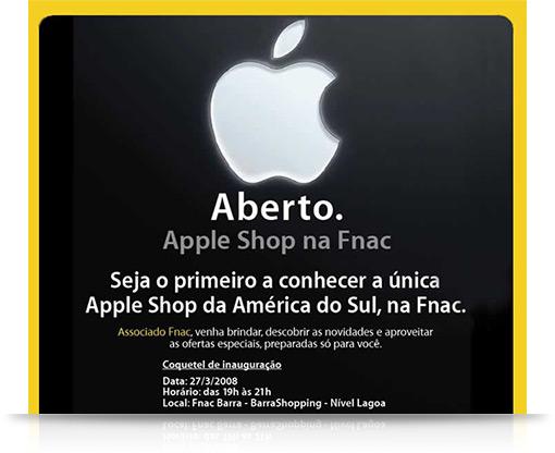 Convite para abertura do Apple Shop na Fnac