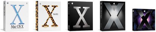 Caixas de todas as versões do Mac OS X