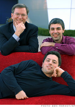 Eric Schmidt, Larry Page e Sergei Brin