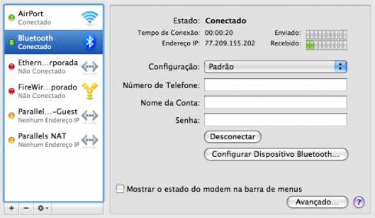 Mac e celular conectados à Internet