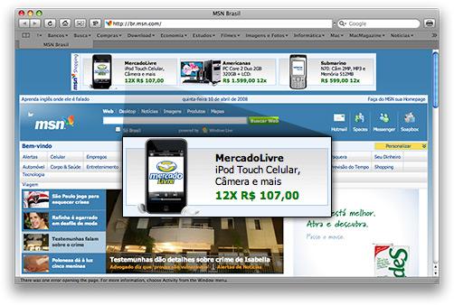 Anúncio de iPod touch no MSN