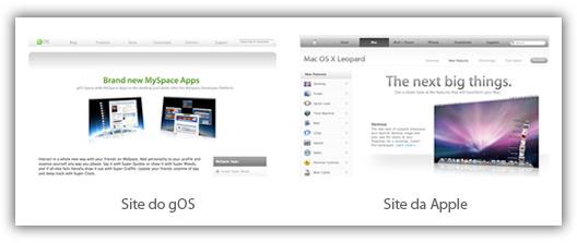 Site do gOS Space e da Apple