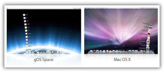 Desktop do gOS Space e do Mac OS X