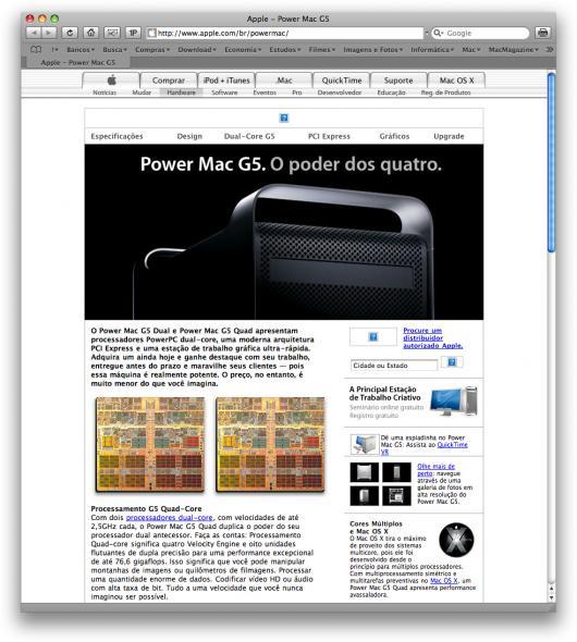 Power Mac G5 no site da Apple Brasil