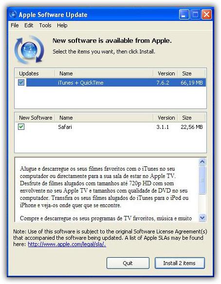 Apple Software Update para Windows