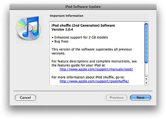 Atualização do software do iPod shuffle