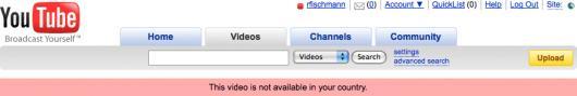 YouTube restringe acesso por país